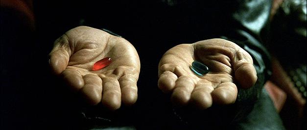 morpheus matrix pilula azul e vermelha